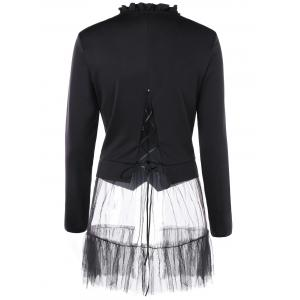 Flounced Double Breasted Tulle Hem Coat -