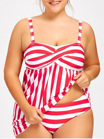 Cheap Striped Padded Tankini Top with Thong