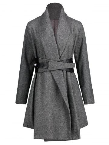 Affordable Turn Down Collar Belted Tunic Coat