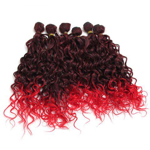 Store Medium Ombre Shaggy Wavy 6Pcs Synthetic Hair Weaves
