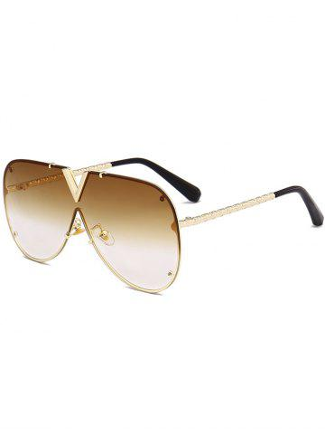 New Vintage V Shape Metal Frame One Piece Lens Sunglasses