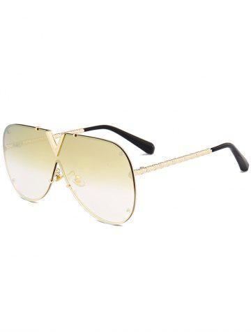 Best Vintage V Shape Metal Frame One Piece Lens Sunglasses