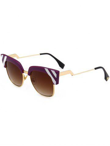 Store Retro Round Metallic Spliced Cat Eye Sunglasses