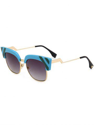 Hot Retro Round Metallic Spliced Cat Eye Sunglasses