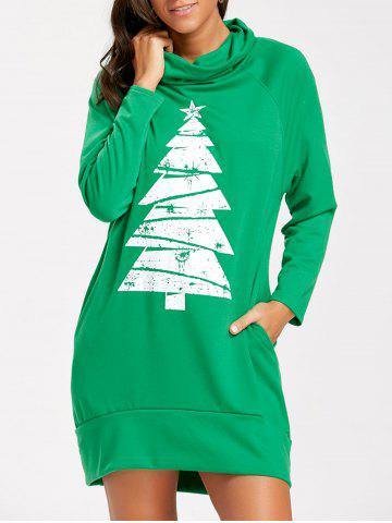Outfits Raglan Sleeve Cowl Neck Christmas Sweatshirt Dress