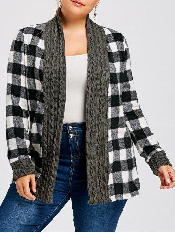 Affordable Plus Size Plaid Long Sleeve Shawl Collar Cardigan