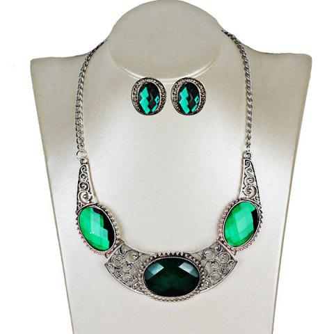 Shop Faux Gemstone Oval Necklace with Earring Set