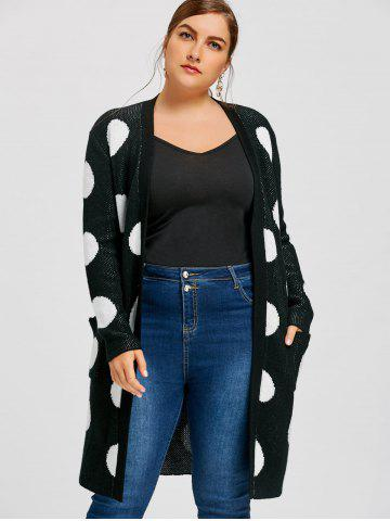 Affordable Plus Size Polka Dot Longline Cardigan