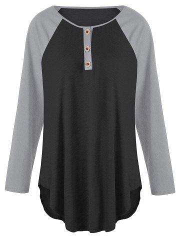 Online Plus Size Two Tone Raglan Sleeve Top with Buttons