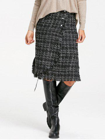 Frayed Slit Tweed Plaid Button Embellished Skirt