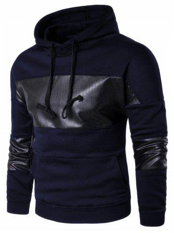 Kangaroo Pocket Faux Leather Insert Hoodie