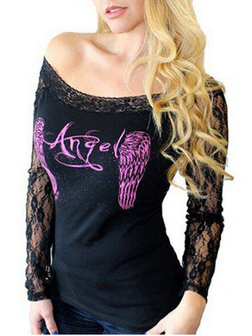 Wings Print Off The Shoulder Lace Sleeve Top