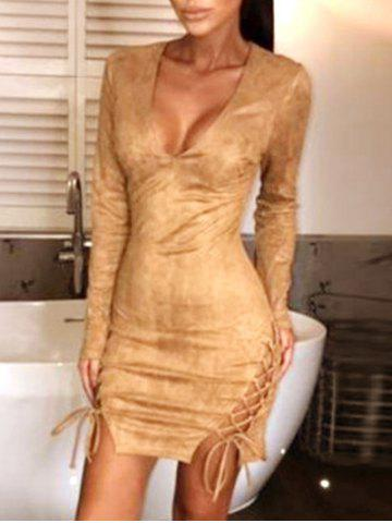 Plunge Neck Lace-up Bodycon Dress