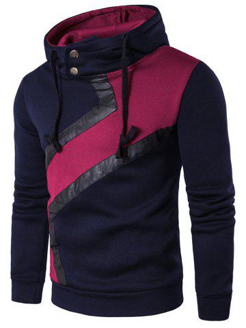 Color Block Faux Leather Panel Hoodie