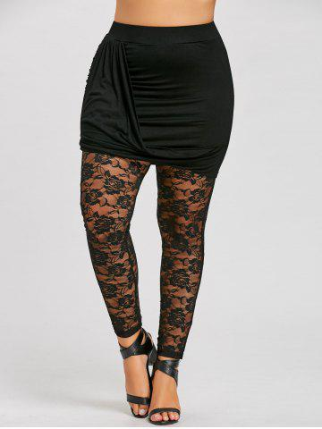 Affordable Plus Size Ruched Sheer Lace Insert Skeggings