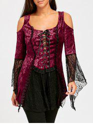 Flare Sleeve Lace Up Velvet Gothic Top -