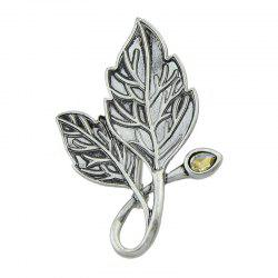 Vintage Faux Gem Tree Leaf Teardrop Brooch -