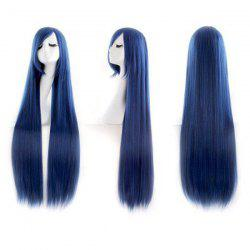 Ultra Long Inclined Bang Straight Synthetic Party Wig -