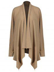 Plus Size Jersey Asymmetric Draped Coat - KHAKI XL