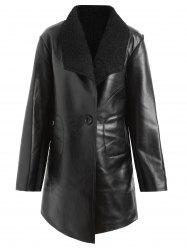 Faux Leather Lapel Plus Size Coat -