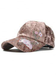 Vintage Floral Pattern Embroidery Thicken Baseball Hat -