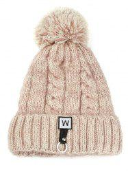 Letter W Embroidery Embellished Thicken Knitted Pom Beanie -