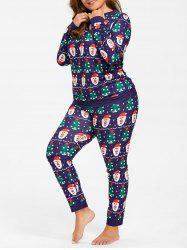 Santa Claus Christmas Tree Plus Size Pajamas Set -