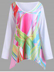 Plus Size Graphic Handkerchief Tunic T-shirt -
