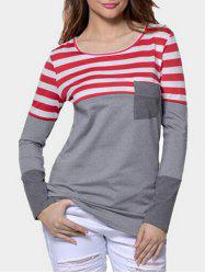 Front Pocket Striped Panel Long Sleeve T-shirt -