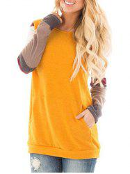 Color Block Panel Sleeve Round Neck T-shirt -