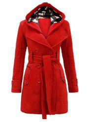 Hooded Double Breasted Trench Coat with Belt -