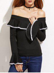 Off The Shoulder Flare Long Sleeve Top -