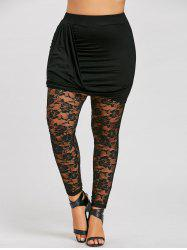 Plus Size Ruched Sheer Lace Insert Skeggings -