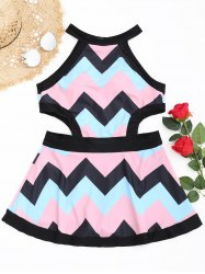 Zigzag Cutout High Neck Swimsuit -
