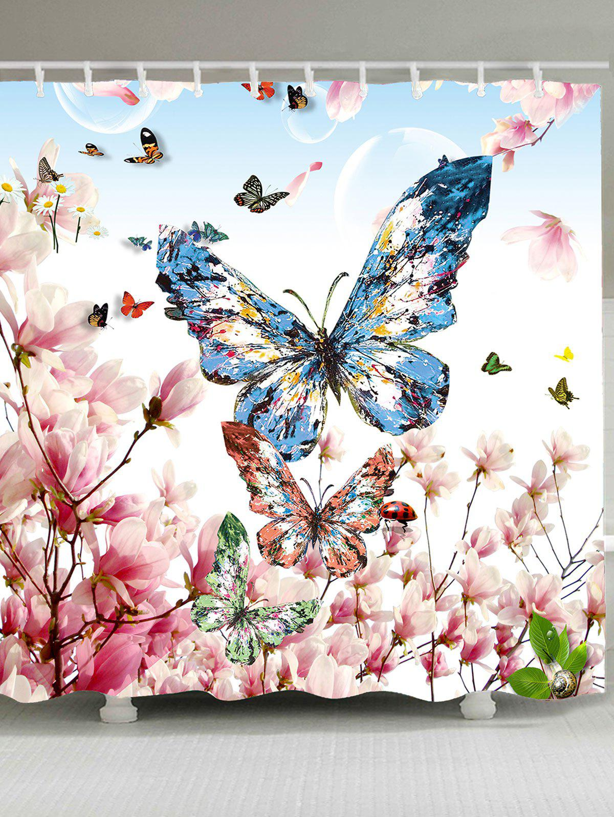 Latest Waterproof Flowers Butterflies Printed Shower Curtain