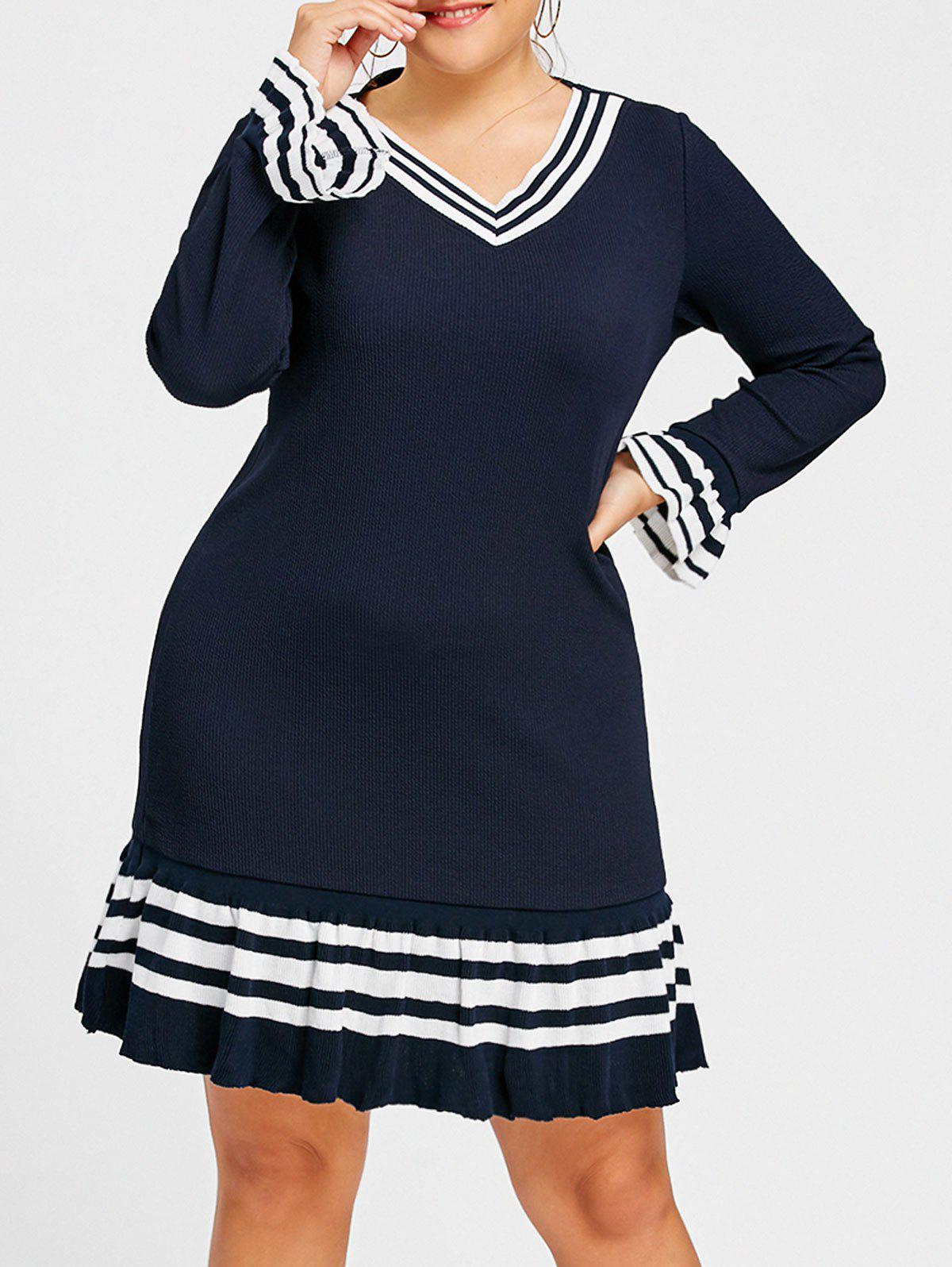 Plus Size Bell Sleeve Striped Sweater DressWOMEN<br><br>Size: 3XL; Color: PURPLISH BLUE; Style: Casual; Material: Acrylic; Silhouette: A-Line; Dresses Length: Knee-Length; Neckline: V-Neck; Sleeve Type: Flare Sleeve; Sleeve Length: Long Sleeves; Waist: Dropped; Pattern Type: Striped; With Belt: No; Season: Fall,Spring,Winter; Weight: 0.5800kg; Package Contents: 1 x Dress;