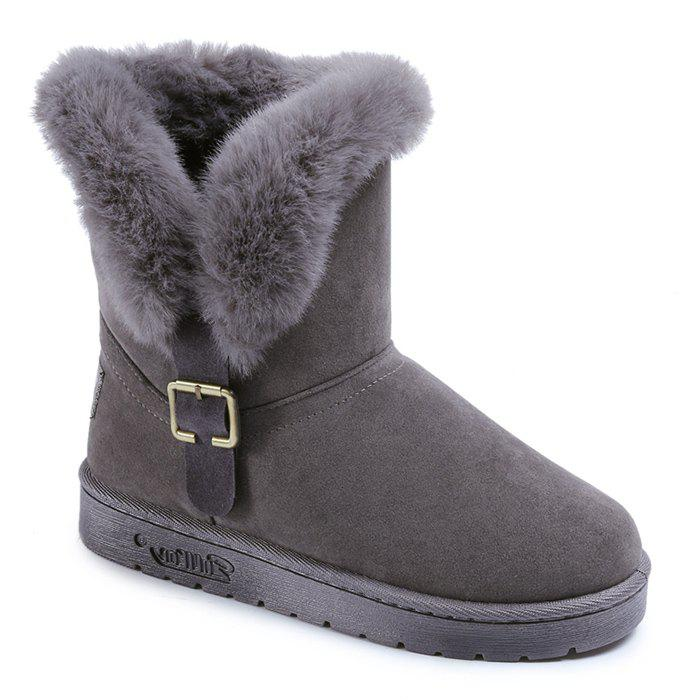 Shop Buckled Faux Fur Suede Slip On Snow Boots