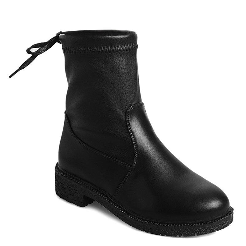 Fashion PU Leather Tie Back Short Boots