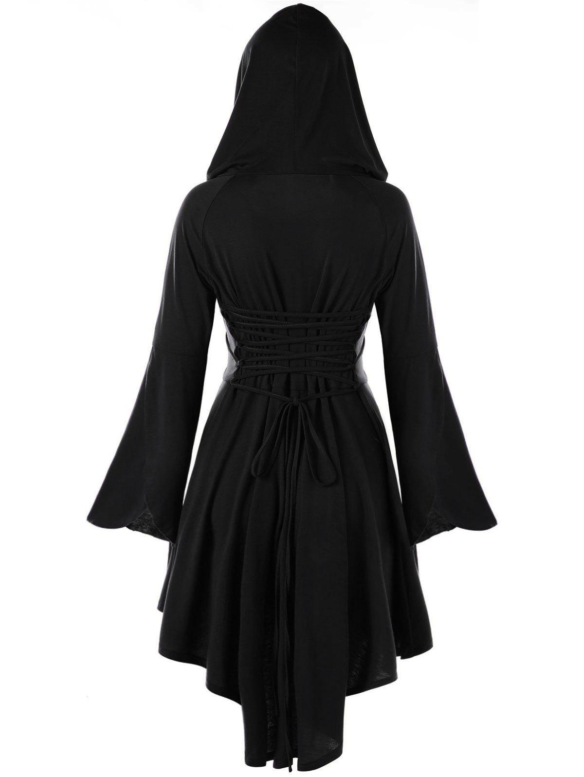 High Low Flare Sleeve Hooded Lace-up DressWOMEN<br><br>Size: 2XL; Color: BLACK; Style: Cute; Material: Polyester,Spandex; Silhouette: Asymmetrical; Dresses Length: Knee-Length; Neckline: Hooded; Sleeve Length: Long Sleeves; Pattern Type: Solid; With Belt: No; Season: Fall,Spring; Weight: 0.4740kg; Package Contents: 1 x Dress;