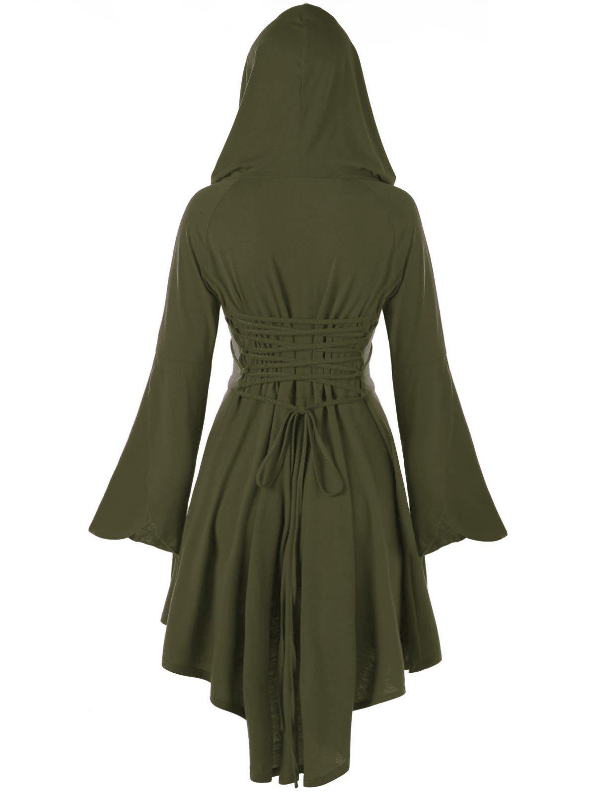 High Low Flare Sleeve Hooded Lace-up DressWOMEN<br><br>Size: 2XL; Color: ARMY GREEN; Style: Cute; Material: Polyester,Spandex; Silhouette: Asymmetrical; Dresses Length: Knee-Length; Neckline: Hooded; Sleeve Length: Long Sleeves; Pattern Type: Solid; With Belt: No; Season: Fall,Spring; Weight: 0.4740kg; Package Contents: 1 x Dress;