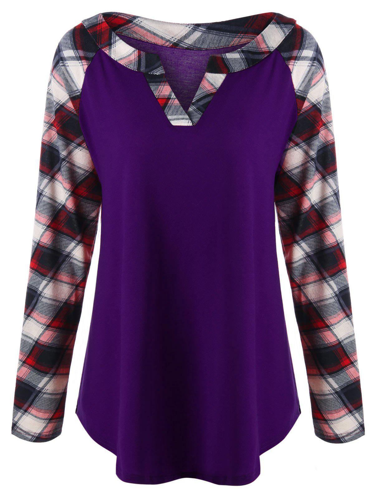 Plus Size Raglan Sleeve Plaid T-shirtWOMEN<br><br>Size: 5XL; Color: PURPLE; Material: Rayon,Spandex; Shirt Length: Long; Sleeve Length: Full; Collar: V-Neck; Style: Casual; Season: Fall,Spring; Pattern Type: Plaid; Weight: 0.3000kg; Package Contents: 1 x Top;