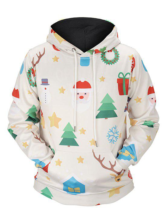 Christmas Tree Kangaroo Pocket Santa Claus HoodieWOMEN<br><br>Size: M; Color: BEIGE; Material: Spandex; Shirt Length: Regular; Sleeve Length: Full; Style: Fashion; Pattern Style: Others; Season: Fall,Spring; Weight: 0.5200kg; Package Contents: 1 x Hoodie;