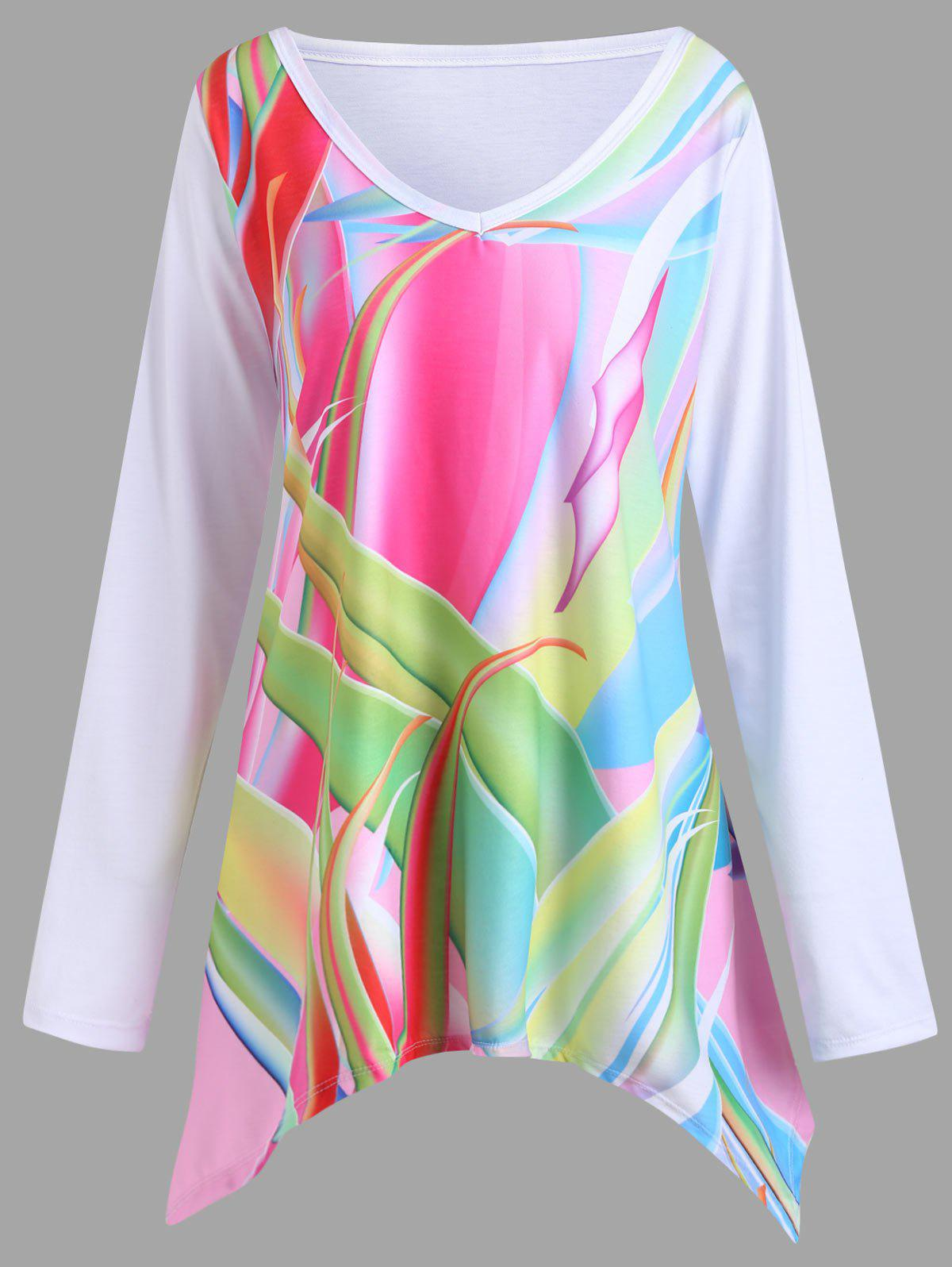 Buy Plus Size Graphic Handkerchief Tunic T-shirt