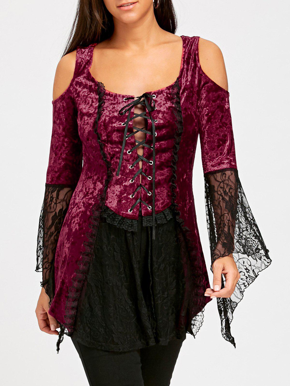 Cheap Flare Sleeve Lace Up Velvet Gothic Top