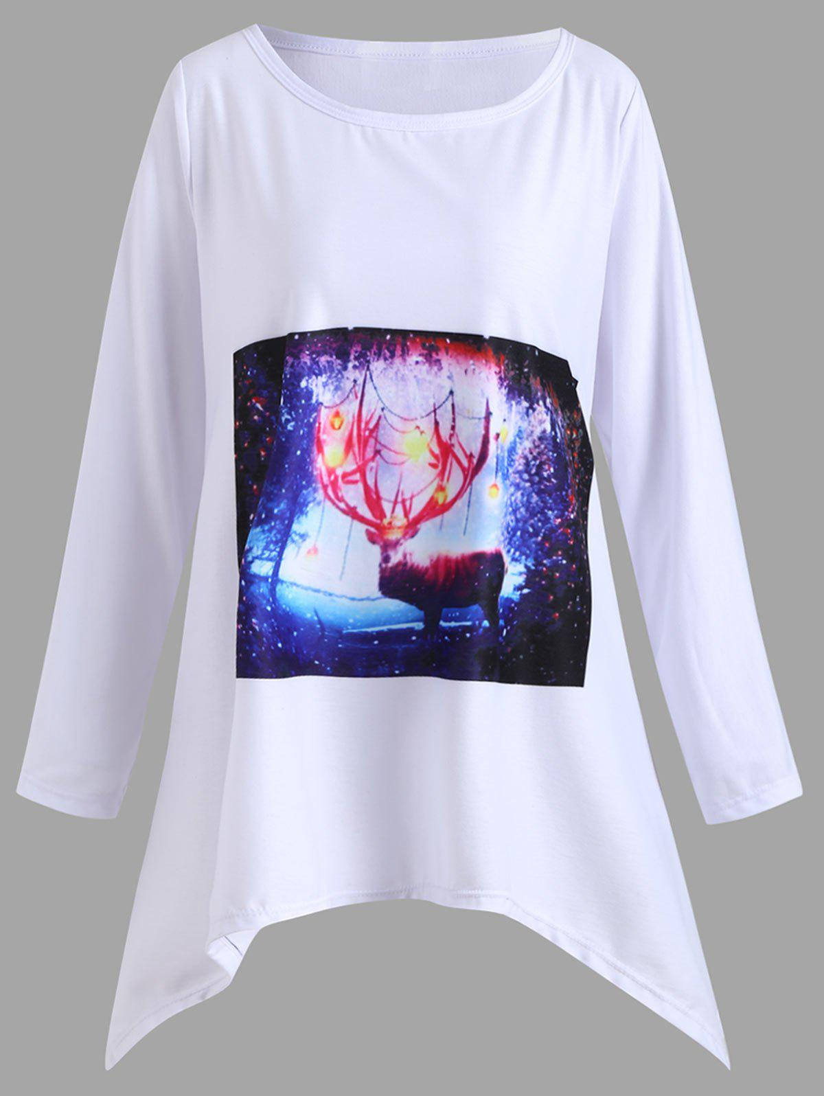 Affordable Christmas Deer Graphic Plus Size Handkerchief T-shirt