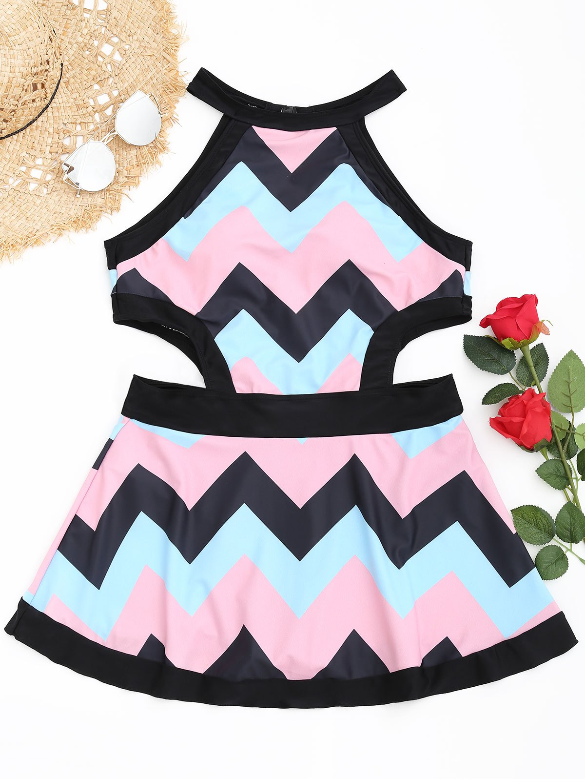 Fashion Zigzag Cutout High Neck Swimsuit