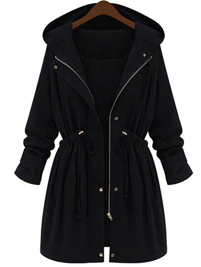 Plus Size Hooded Zip Drawstring Waist CoatWOMEN<br><br>Size: 4XL; Color: BLACK; Clothes Type: Others; Material: Polyester; Type: High Waist; Shirt Length: Long; Sleeve Length: Full; Collar: Hooded; Pattern Type: Solid; Embellishment: Zippers; Style: Fashion; Season: Winter; Weight: 0.5500kg; Package Contents: 1 x Coat;