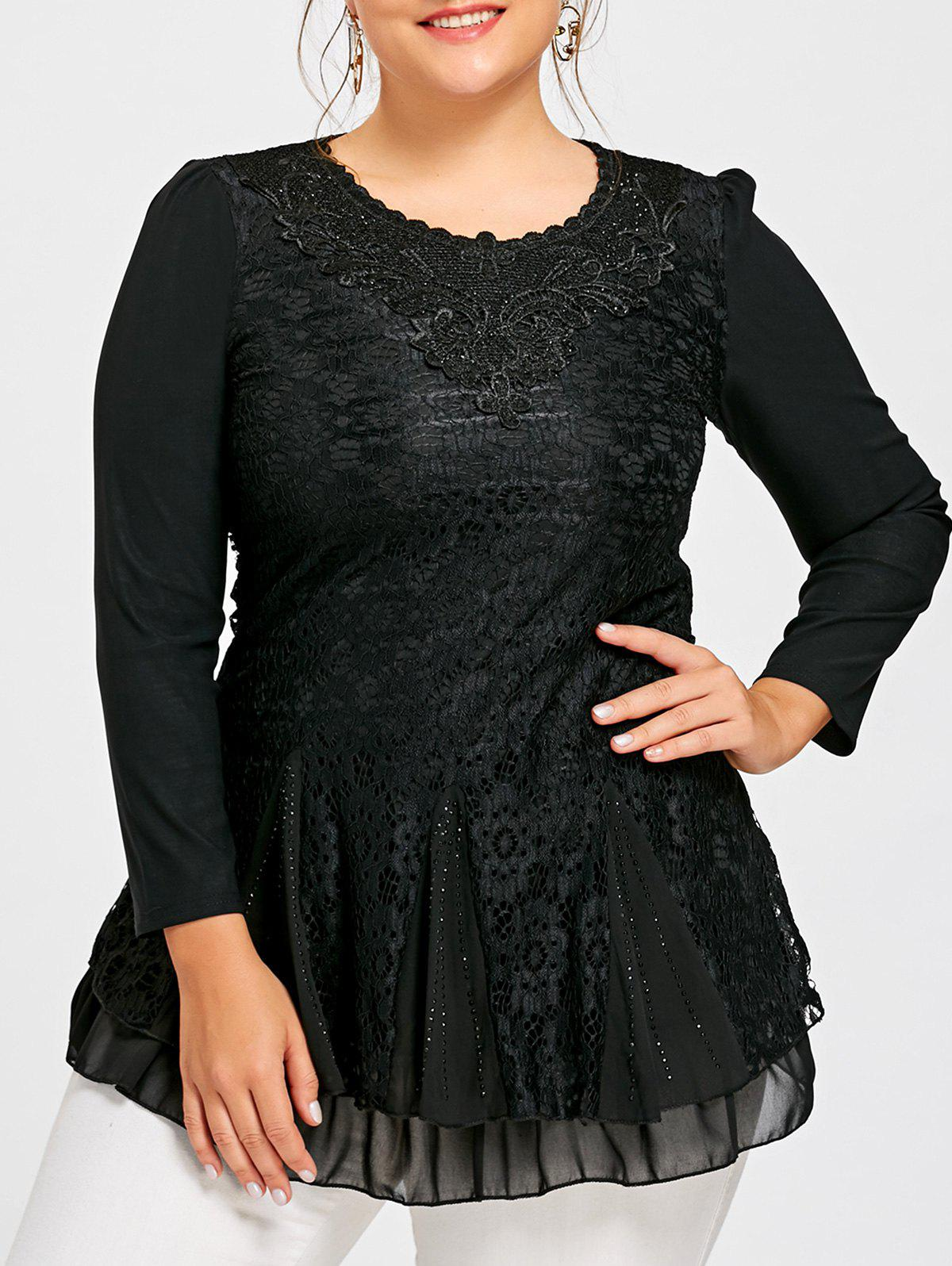 Plus Size Layered Sequined Lace BlouseWOMEN<br><br>Size: 5XL; Color: BLACK; Material: Polyester; Shirt Length: Long; Sleeve Length: Full; Collar: Round Neck; Style: Casual; Season: Fall,Spring; Embellishment: Appliques,Lace,Sequined; Pattern Type: Others; Weight: 0.4100kg; Package Contents: 1 x Blouse;