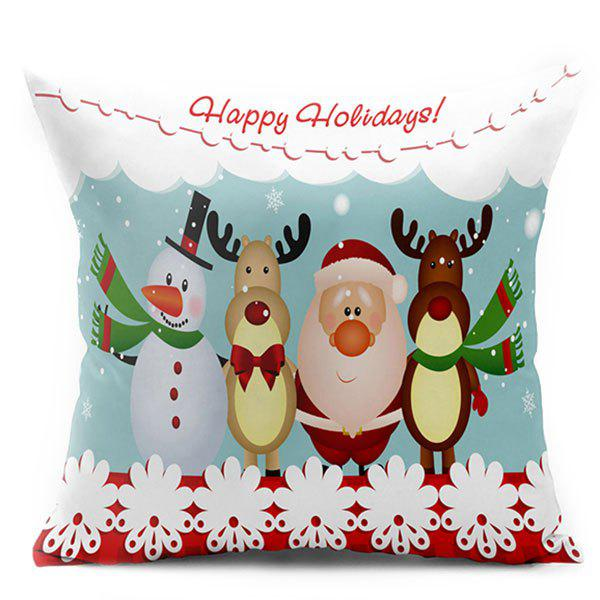 Christmas Snowman Elk Santa Claus Double Side Printed Pillow CaseHOME<br><br>Size: W17.5 INCH * L17.5 INCH; Color: COLORMIX; Material: Polyester / Cotton; Pattern: Elk,Santa Claus,Snowman; Style: Festival; Shape: Square; Weight: 0.1000kg; Package Contents: 1 x Pillowcase;
