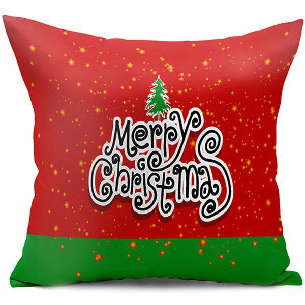 Merry Christmas Letter Double Side Printed Throw Pillow CaseHOME<br><br>Size: W17.5 INCH * L17.5 INCH; Color: RED; Material: Polyester / Cotton; Pattern: Letter; Style: Festival; Shape: Square; Weight: 0.1000kg; Package Contents: 1 x Pillowcase;